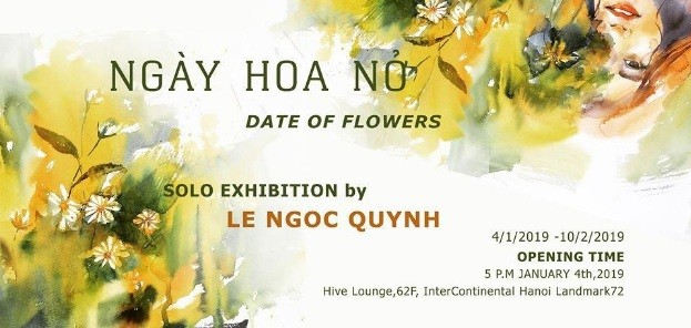 """Art exhibition """"Date of flowers"""" at Hive Lounge from watercolor artist Le Ngoc Quynh"""